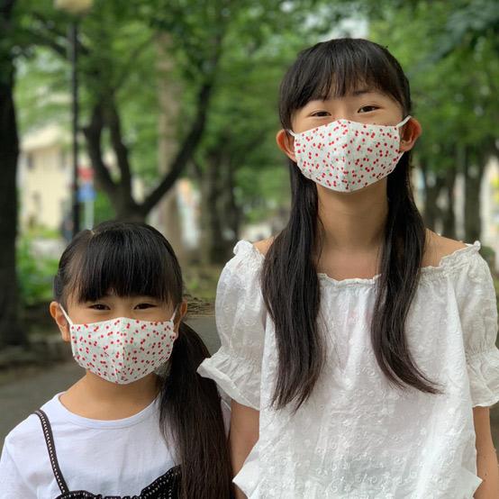 KIDS'レイヤード・マスク さくらんぼ柄 数量限定商品